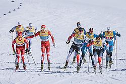 28.02.2021, Oberstdorf, GER, FIS Weltmeisterschaften Ski Nordisch, Oberstdorf 2021, Herren, Langlauf, Teamsprint, Freestyle, im Bild v.l.: Alexander Bolshunov (RSF), Gleb Retivykh (RSF), Erik Valnes (NOR), Johannes Hoesflot Klaebo (NOR) // f.l.: Alexander Bolshunov of RSF Gleb Retivykh of RSF Erik Valnes of Norway Johannes Hoesflot Klaebo of Norway during men Cross Country team sprint freestyle competition of the FIS Nordic Ski World Championships 2021 in Oberstdorf, Germany on 2021/02/28. EXPA Pictures © 2021, PhotoCredit: EXPA/ Dominik Angerer