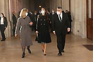 120320 Queen Letizia attends opening of the exhibition 'Rafael en Palacio. Tapestries for Philip II'