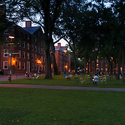 Harvard Yard lawns at night, Boston