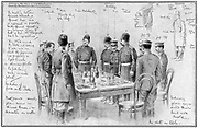 Russo-Japanese War 1904-1905: Generals Stoessel (Russian) and Nogi (Japanese) meeting to arrange terms for the capitulation of Port Arthur by the Russians.  January 1905