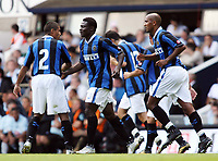 Photo: Chris Ratcliffe.<br /> Tottenham Hotspur v Inter Milan. Pre Season Friendly. 28/07/2006.<br /> Obafemi Martins (2nd from left) of Inter celebrates his goal with team mates.