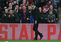 Football - 2017 / 2018 Premier League - Crystal Palace vs. West Ham United<br /> <br /> A dejected West ham manager Slaven Bilic walks off the pitch as Palace taunt him after palace got a last minute equalsing goal in injury time at Selhurst Park.<br /> <br /> COLORSPORT/ANDREW COWIE