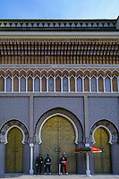 Morocco. The gate to the royal palace in Fes with heavy bronze doors.