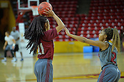 March 17, 2016: New Mexico State Aggies guard Tamera William (21) is guarded by New Mexico State Aggies guard Zaire Williams (12) during the first practice day of the 2016 NCAA Division I Women's Basketball Championship first round in Tempe, Ariz.