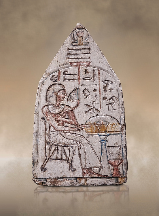 """Ancient Egyptian Ra stele , limestone, New Kingdom, 19th Dynasty, (1279-1190 BC), Deir el-Medina,  Egyptian Museum, Turin. <br /> <br /> Akh iqer en Ra """" the excellent spirit of Ra' stele. The individual is smelling a lotus flower. One of three stele forund in different rooms of houses in Deir el-Medina where they stood in niches. .<br /> <br /> If you prefer to buy from our ALAMY PHOTO LIBRARY  Collection visit : https://www.alamy.com/portfolio/paul-williams-funkystock/ancient-egyptian-art-artefacts.html  . Type -   Turin   - into the LOWER SEARCH WITHIN GALLERY box. Refine search by adding background colour, subject etc<br /> <br /> Visit our ANCIENT WORLD PHOTO COLLECTIONS for more photos to download or buy as wall art prints https://funkystock.photoshelter.com/gallery-collection/Ancient-World-Art-Antiquities-Historic-Sites-Pictures-Images-of/C00006u26yqSkDOM"""