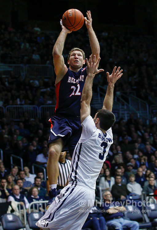 INDIANAPOLIS, IN - DECEMBER 28: Reece Chamberlain #22 of the Belmont Bruins shoots the ball over Alex Barlow #3 of the Butler Bulldogs at Hinkle Fieldhouse on December 28, 2014 in Indianapolis, Indiana. (Photo by Michael Hickey/Getty Images) *** Local Caption *** Reece Chamberlain; Alex Barlow