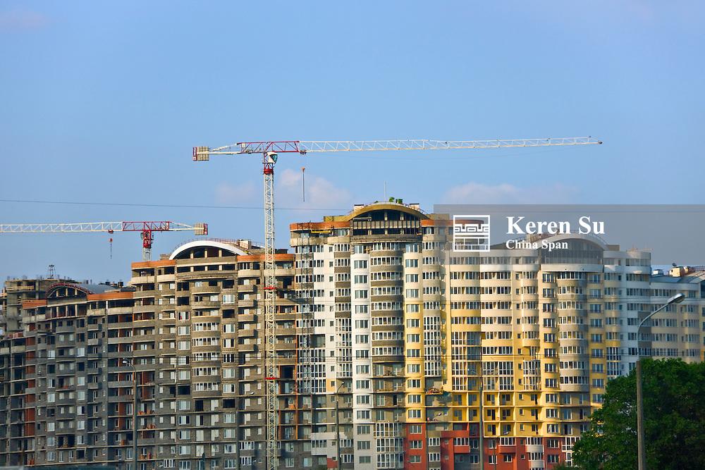 Cranes constructing new buildings, Minsk, Belarus