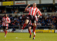 Photo: Richard Lane.<br />Wycombe Wanderers v Lincoln City. Coca Cola League 2. 17/04/2006. <br />Lincoln's Jamie Forrester celebrates his goal.