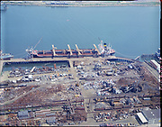 """Ackroyd C03235-4. """"Schnitzer Industries. Aerials of SS Pacemperor. April 13, 1972"""" (NW waterfront. B&W 17787"""