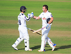 Sean Ervine of Hampshire celebrates his century with Lewis McManus  - Mandatory by-line: Alex Davidson/JMP - 23/08/2016 - CRICKET - Cooper Associates County Ground - Taunton, United Kingdom - Somerset v Hampshire - Specsavers County Championship Division One