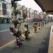 "Memorials have been placed where a young man called 'Marurice' died on the A215 Walworth Road in London, England, UK. Were we to ignore this place where someone's life ended, the victim would just be an anonymous statistic but flowers are left to die too and touching poems and dedications are written by family and loved-ones. One read: ""Top fella/Don't worry, I'll look after your sisters/May you and your family find true justive so your soul may rest in Peace."" From a project about makeshift shrines: Britons have long installed memorials in the landscape: Statues and monuments to war heroes, Princesses and the socially privileged. But nowadays we lay wreaths to those who die suddenly - ordinary folk killed as pedestrians, as drivers or by alcohol, all celebrated on our roadsides and in cities with simple, haunting roadside remberences."