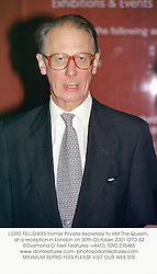 LORD FELLOWES former Private Secretary to HM The Queen, at a reception in London on 30th October 2001.OTO 62