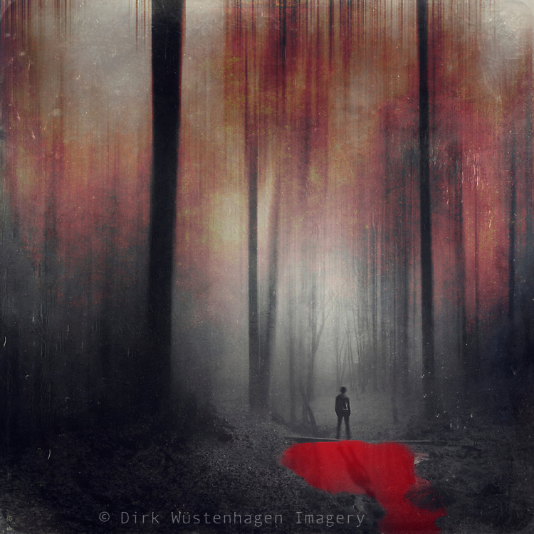 Surreal abstract forest scenery with a pond with red water