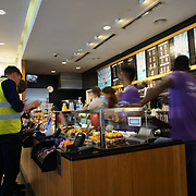 The most unprosperous job for student at Pret a Manger, Macdonald, Starbucks, Nero, KFC  for awhile to pay collage fee is ok at Oxford Street on 2021-09-10, London, UK.