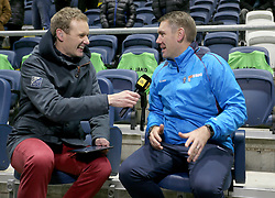 """Fylde's manager Dave Challinor chats with bbc's Dan Walker before the Emirates FA Cup second round match at Mill Farm, Flyde. PRESS ASSOCIATION Photo Picture date: Friday December 1, 2017. See PA story SOCCER Flyde. Photo credit should read: Richard Sellers/PA Wire. RESTICTIONS: EDITORIAL USE ONLY No use with unauthorised audio, video, data, fixture lists, club/league logos or """"live"""" services. Online in-match use limited to 75 images, no video emulation. No use in betting, games or single club/league/player publications. the Emirates FA Cup second round match at Mill Farm, Flyde. PRESS ASSOCIATION Photo Picture date: Friday December 1, 2017. See PA story SOCCER Flyde. Photo credit should read: Richard Sellers/PA Wire. RESTICTIONS: EDITORIAL USE ONLY No use with unauthorised audio, video, data, fixture lists, club/league logos or """"live"""" services. Online in-match use limited to 75 images, no video emulation. No use in betting, games or single club/league/player publications."""