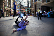 Performers perform a short play at Hays Galleria making fun of Olympic sports. The Mayor's Thames Festival is London's largest outdoor arts festival and one of the most spectacular events of the year. It is a celebration of London and the River Thames, one that is free and open to all. A vibrant mixture of live music, dance, art installations, carnival, river races and street arts, the festival transforms the Thames and its banks and brings Londoners together at the heart of their city.