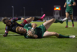 November 3, 2018 - Galway, Ireland - Darragh Leader of Connacht scores a try during the Guinness PRO14 match between Connacht Rugby and Dragons at the Sportsground in Galway, Ireland on November 3, 2018  (Credit Image: © Andrew Surma/NurPhoto via ZUMA Press)