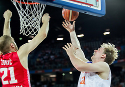 Luka Zoric of Croatia vs Robin Smeulders of Netherlands during basketball match between Netherlands and Croatia at Day 5 in Group C of FIBA Europe Eurobasket 2015, on September 9, 2015, in Arena Zagreb, Croatia. Photo by Vid Ponikvar / Sportida