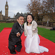 London,England,UK. 17th Nov 2016: Photocall for The Shortest married couple, Male: Paulo measures 90.28 cm and Female: Katyucia measures: 91.13 cm in the world unveiled - Guinness World Records Day at t Thomas's Hospital, Lambeth Palace Road, London,UK. Photo by See Li