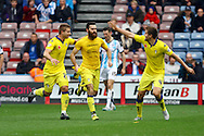 Mirco Antenucci of Leeds united (c) celebrates with his teammates after scoring his teams 1st goal. Skybet football league Championship match, Huddersfield Town v Leeds United at the John Smith's Stadium in Huddersfield, Yorks on Saturday 7th November 2015.<br /> pic by Chris Stading, Andrew Orchard sports photography.