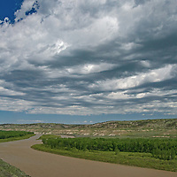 The Missouri River winds through the Upper Missouri River Breaks in central Montana.