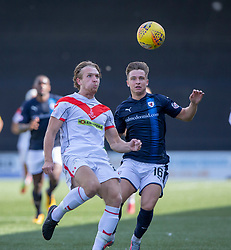 Airdrie's Scott Stewart and Raith Rovers Nathan Flanagan. half time : Airdrie 2 v 0 Raith Rovers, Scottish Football League Division One played 25/8/2018 at the Excelsior Stadium.