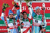 Alpint 4. februar 2009 , VAL D ISERE,FRANKREICH,04.FEB.09 - SKI ALPIN - FIS Weltmeisterschaften 2009 in Val d Isere, Super G der Herren, Bild zeigt Peter Fill (ITA), Didier Cuche (SUI) und Aksel Lund Svindal (NOR). <br /> Norway only
