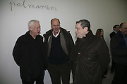 Michael Craig-Martin, Nicholas Logsdail and Norman Rosenthall, Aperiatur Terra, Private View of work by  Anselm Kiefer<br />White Cube, Mason's Yard. - Afterwards dinner at the  NCP Brewer Street (Top<br />Floor)  London, 25 January 2007. -DO NOT ARCHIVE-© Copyright Photograph by Dafydd Jones. 248 Clapham Rd. London SW9 0PZ. Tel 0207 820 0771. www.dafjones.com.
