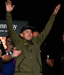 Sept 15,2017. Las Vegas, NV.   (Gennadi Golovkin) GGG greets his fans during todays weighs in at the MGM grand hotel Friday. GGG will be fighting Mexico's  Canelo Alvarez Saturday at the T-Mobile arena for the WBC,WBA,IBF,IBO ring middleweight titles..Photo by Gene Blevins/LA DailyNews/SCNG/ZumaPress. (Credit Image: © Gene Blevins via ZUMA Wire)