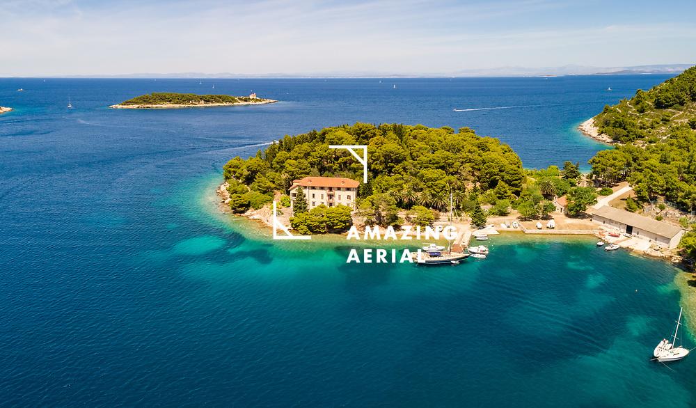 Aerial view of abandoned Ceska vila, touristic attraction, on Vis island, Croatia.