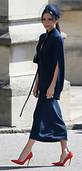 © Licensed to London News Pictures. 19/05/2018. London, UK.  VICTORIA BECKHAM attends the wedding of Prince Harry, The Duke of Sussex and Meghan Markle, The Duchess of Sussex at St George's Chapel in Windsor Castle . Photo credit: LNP