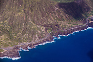 Aerial photograph of Kalaniana'ole highway winding along the flanks of Koko Crater & the rugged coastline of East Honolulu, Oahu, Hawaii