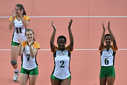 GUANGZHOU, June 20, 2017  Players of South Africa greet the spectators after the women's volleyball match against China at 2017 BRICS Games in Guangzhou, south China's Guangdong Province, June 20, 2017. (Credit Image: © Liang Xu/Xinhua via ZUMA Wire)
