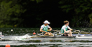 2006 FISA World Cup, Lucerne, SWITZERLAND, 07.07.2006. Lightweight Women's Double Sculls heat,  IRL LW2X ,  Bow [left] Sinead JENNINGS and Niamh NI CHEILLEACHAIR, Jennings catching a crab in the opening strokes of race.   Photo  Peter Spurrier/Intersport Images email images@intersport-images.com.[Friday Morning]...[Mandatory Credit Peter Spurrier/Intersport Images... Rowing Course, Lake Rottsee, Lucerne, SWITZERLAND.
