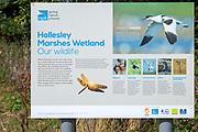 Sign for RSPB wildlife nature reserve Hollesley Marshes, Suffolk, England, UK