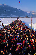 LILLEHAMMER, NORWAY - FEBRUARY:  Fans line up and wait for the gates to open for a skiing event. (Photo by John Kelly/Getty Images)