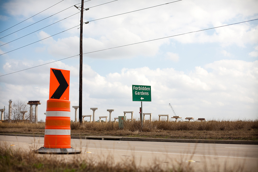 Expansion of Texas State Highway 99 will plow through the Forbidden Gardens site.