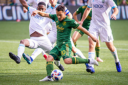 November 4, 2018 - Portland, OR, U.S. - PORTLAND, OR - NOVEMBER 04: Portland Timbers midfielder Sebastián Blanco (10) scores a goal during the Portland Timbers first leg of the MLS Western Conference Semifinals against the Seattle Sounders on November 04, 2018, at Providence Park in Portland, OR. (Photo by Diego Diaz/Icon Sportswire) (Credit Image: © Diego Diaz/Icon SMI via ZUMA Press)
