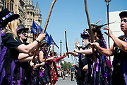 Morris dancers protest outside th Houses of Parliament at May 4th 2020 being designated VE day celebration instead of being the May Day holiday on July 23rd 2019 in London, United Kingdom.
