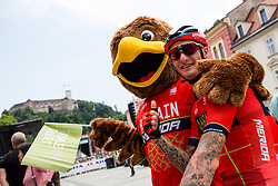 Grega Bole (SLO) of Bahrain - Merida and mascot during 1st Stage of 26th Tour of Slovenia 2019 cycling race between Ljubljana and Rogaska Slatina (171 km), on June 19, 2019 in  Slovenia. Photo by Matic Klansek Velej / Sportida