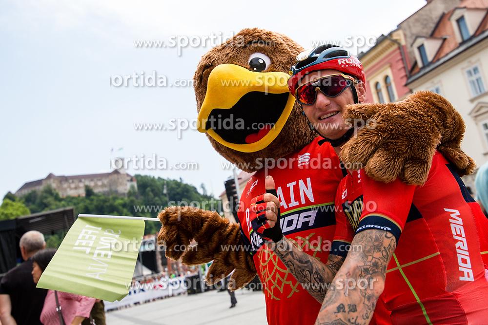 Grega Bole (SLO) of Bahrain - Merida and mascot during 1st Stage of 26th Tour of Slovenia 2019 cycling race between Ljubljana and Rogaska Slatina (171 km), on June 19, 2019 in  Slovenia. Photo by Matic Klansek Velej / Sportida