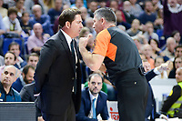 Panathinaikos's coach Xavi Pascual talking with the referee during match of Turkish Airlines Euroleague at Barclaycard Center in Madrid. November 16, Spain. 2016. (ALTERPHOTOS/BorjaB.Hojas)