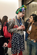 ANNA KOMPANIELO, Editor of Wallpaper: Tony Chambers and architect Annabelle Selldorf host drinks to celebrate the collaboration between the architect and three of Savile Row's finest: Hardy Amies, Spencer hart and Richard James. Hauser and Wirth Gallery. ( Current show Isa Genzken. ) savile Row. London. 9 January 2012.