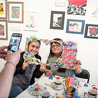 Mother Eangielene Leslie and daughter Lilah Leslie, 15, pose for a photo at a Mother's Day Craft-Tea event at Art123, Saturday May 4, in Gallup.