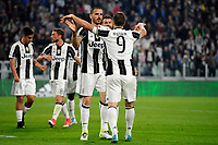 Esultanza Gol Leonardo Bonucci Juventus con Sami Khedira Goal celebration <br /> Torino 08-04-2017 Juventus Stadium Football Calcio Serie A 2016/2017 Juventus - Chievo. Foto Filippo Alfero / Insidefoto