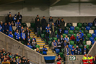 Estonia fans during the UEFA European 2020 Qualifier match between Northern Ireland and Estonia at National Football Stadium, Windsor Park, Northern Ireland on 21 March 2019.
