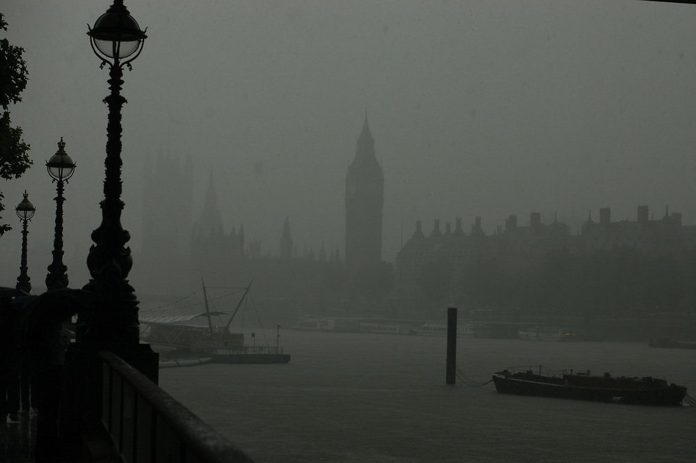 Houses of parliament from the South Bank on a rainy day