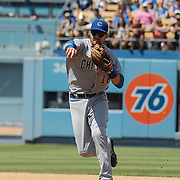 Aug 28 2016 - Los Angeles U.S. CA - Chicago Cubs 2B # 18 Ben Zobrist make a infield play during MLB game between LA Dodgers and the Chicago Cubs 1-0 lost at Dodgers Stadium Los Angeles Calif. Thurman James / CSM