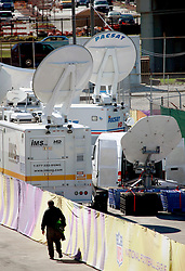 31 Jan 2013. New Orleans, Louisiana USA. .TV Satellite trucks set up as the media descends on the Mercedes Benz Superdome, home of the New Orleans Saints in the run up to the XLVII (47th) Annual Super Bowl where the Baltimore Ravens go up against the San Francisco 49'ers. With just days to go, preparations are in full swing for the Big Game..Photo; Charlie Varley