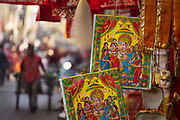 Posters for sale of the Ganesh the elephant-headed Hindu god of beginnings, on the 20th January 2018 in the city of Udaipur, India. This god who is traditionally worshipped before any major enterprise is the patron of intellectuals, bankers, scribes, and authors. Also called Ganesha he is a remover of obstacles.